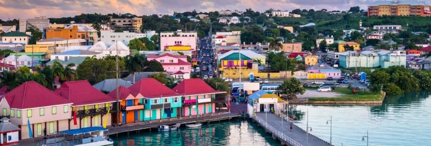 A candy-colored village on the coast in Antigua