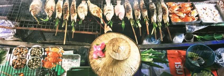 Floating fast food market in Bangkok